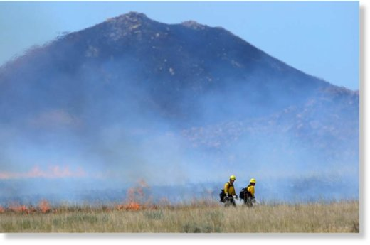 Firefighters work to set a back fire as favorable winds allow for the strategy on Antelope Island, Saturday, July 23, 2016.