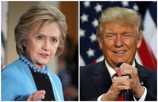 A combination photo shows U.S. Democratic presidential candidate Hillary Clinton (L) and Republican U.S. presidential candidate Donald Trump (R)