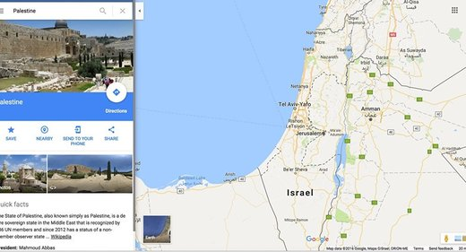 Google under fire for replacing Palestine from its maps with Israel