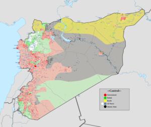 """Terytoria zajęte przez SDF (aka siły kurdyjskie YPG), """"ISIS"""", armię syryjską i """"umiarkowanych"""" w Syrii – stan na 12 sierpnia 2016 r."""