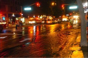 NYC sinkhole water main break