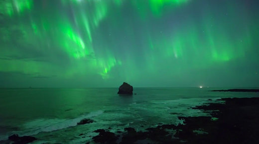 Spectacular drone footage captures early Northern Lights over Iceland