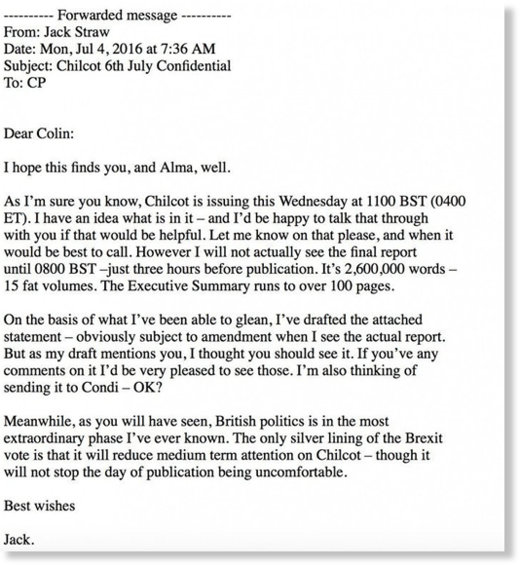 Jack Straw - Colin Powell email
