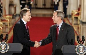 British Prime Minister Tony Blair and U.S. President George W. Bush