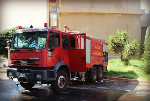 Aleppo REAL Syria Civil Defence Fire Engine parked in their yard