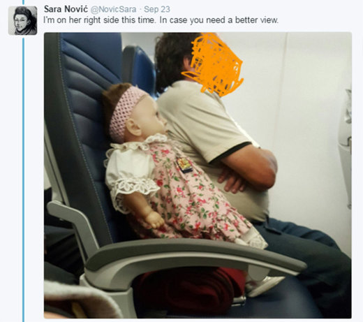 Plane passenger finds herself sitting next to creepy doll with its own ticket - for two flights