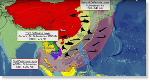China's anti-access area denial defensive layers