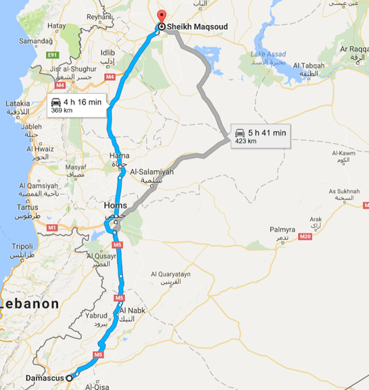 A of The route from Damascus to Sheikh Maqsoud, a Kurdish-held neighborhood in Aleppo.
