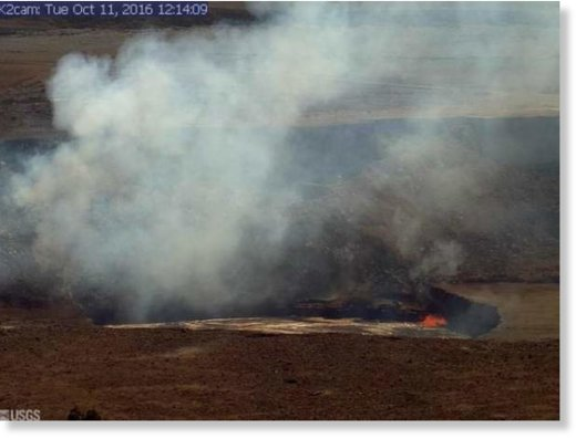 An image from the rim of Halema'uma'u Crater on Tuesday.
