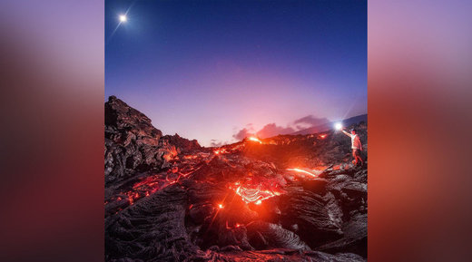 Ethereal images capture meteor speeding over Hawaii molten lava