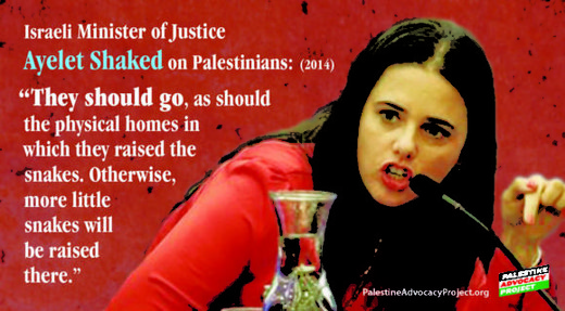 "Israeli Minister of Justice Ayelet Shaked ""They should go, as should the physical homes in which they raised the snakes. Otherwise, more little snakes will be raised there."""