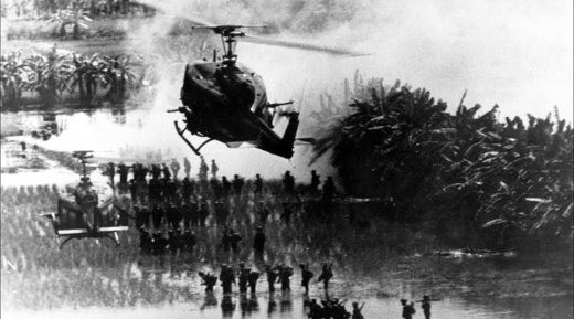 American helicopters protect soldiers in Vietnam war