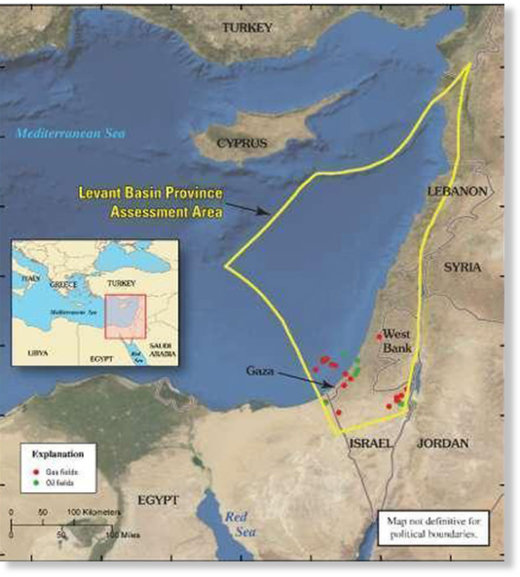 Levant basin gas and oil fields