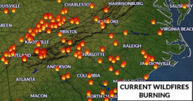 Dozens Of Wildfires Spread Across North Carolina