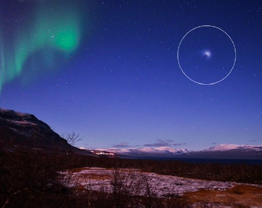 Aurora and mystery object photographed over Sweden