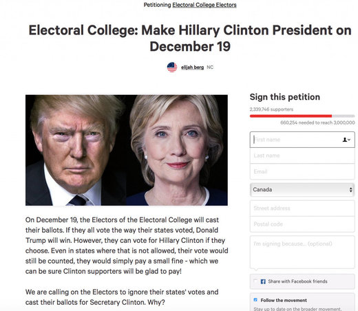 Petition to cast electoral votes for Clinton