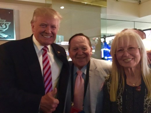 Trump with Sheldon and Miriam Adelson