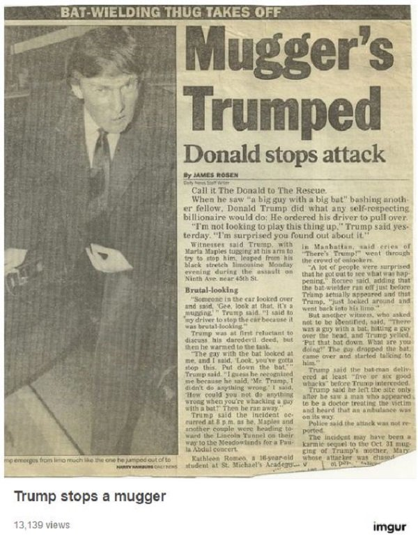 Image result for Donald trump newspaper 1991 baseball bat