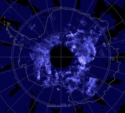 Sky over Antarctica glows blue with ring of bright noctilucent clouds
