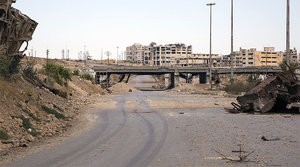 A general view taken on September 16, 2016, shows the rubble-strewn Castello Road, the main route for humanitarian assistance in to divided Syrian city of Aleppo