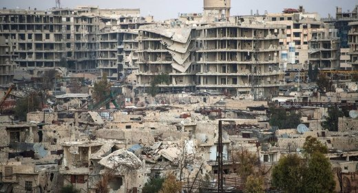 damaged buildings in Damascus