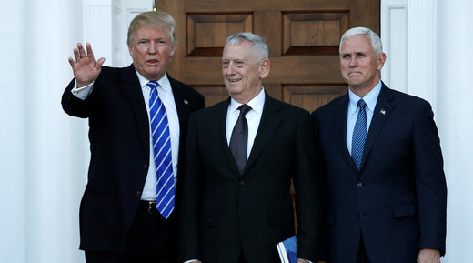U.S. President-elect Donald Trump (L) and Vice President-elect Mike Pence (R) greet retired Marine General James Mattis