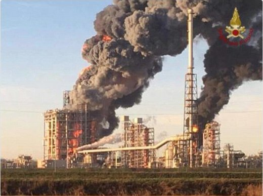 Huge fire engulfs one of Italy's biggest oil refineries