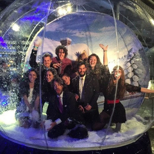Google employees in snow ball