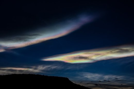 Nightime iridescent clouds illuminated by super moon Trinidad, Colorado, December 12 13 2016