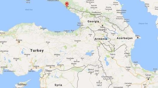 Map showing Sochi as Russian military plane missing