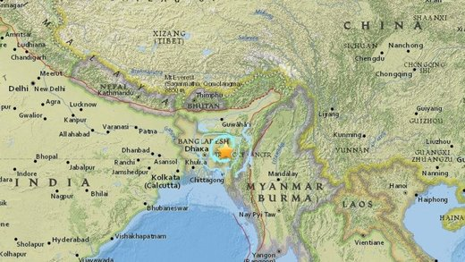India-Bangladesh earthquake map