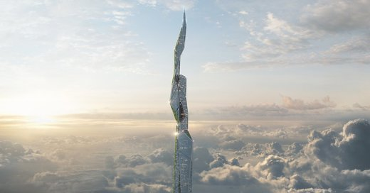 A rendering for Arconic's three-mile-high skyscraper coated in EcoClean