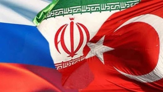 Russia, Iran and Turkey flags