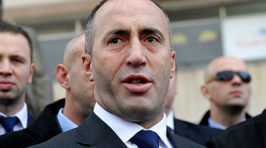 This file photo taken on November 30, 2012 shows Kosovo former Prime Minister Ramush Haradinaj talking to the media