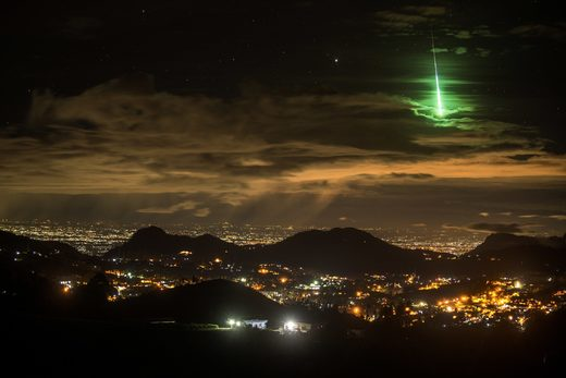 Brilliant green meteor fireball photographed over Southern India