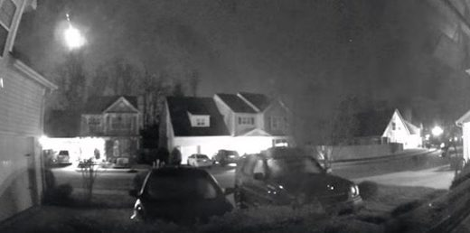 Security camera captures meteor fireball lighting up the sky in Huntersville, North Carolina