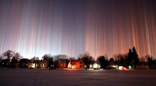 light pillar phenomenon in Russia