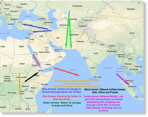 Middle East and Africa and Asia geo-strategic map