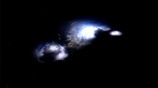 thunderstorm filmed from onboard the International Space Station