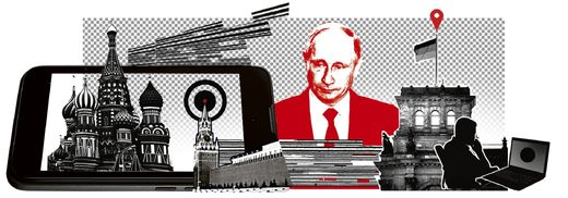 Graphic of Putin and cyber attacks