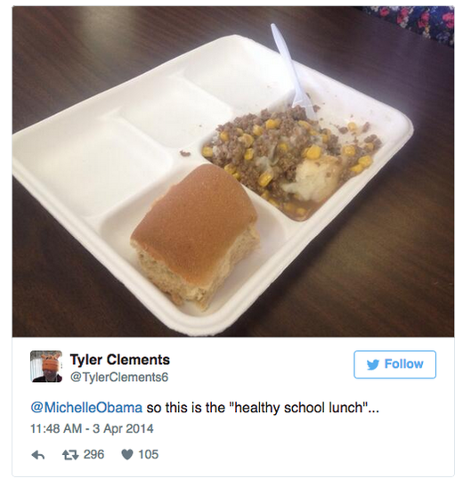 school lunch tweet