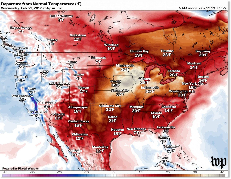 Temps across US soar in near-warmest February in 3 decades ...