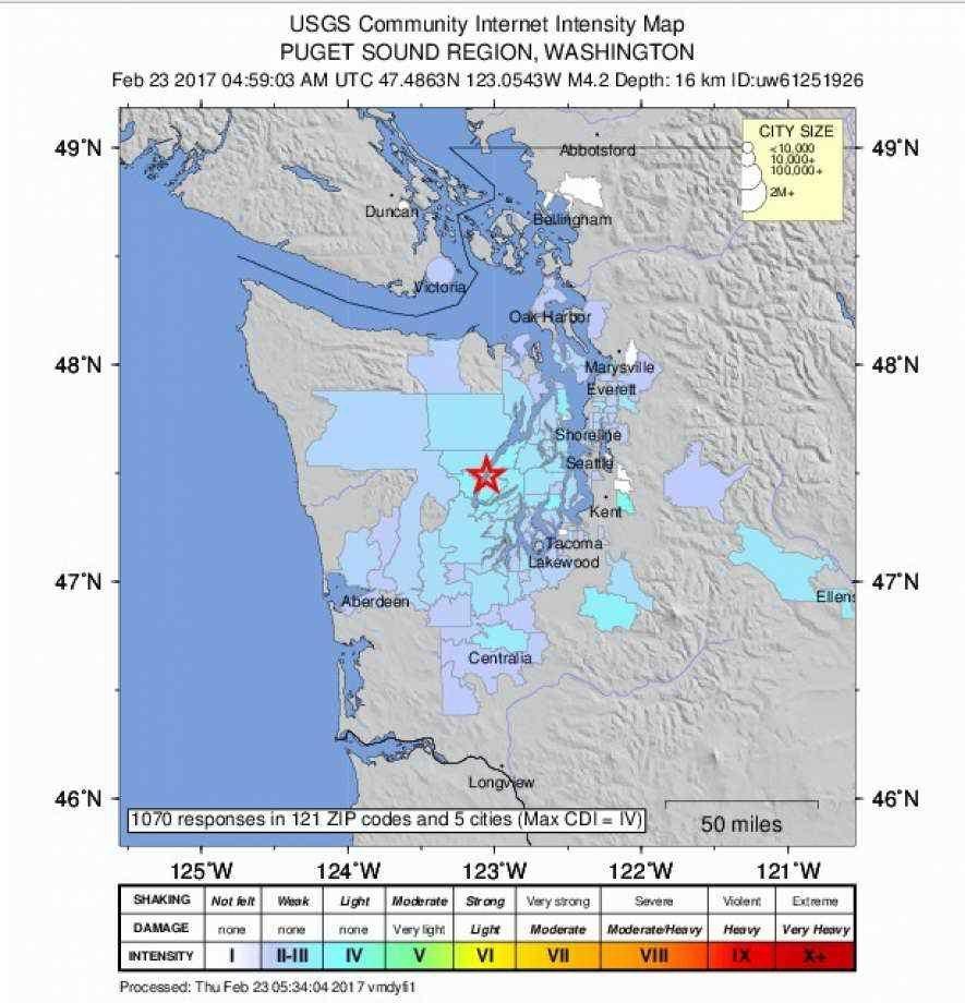 Shallow magnitude 4 2 earthquake strikes near Belfair