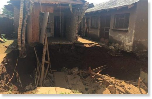 House fell into a sinkhole in Khutsong in the early hours of this morning.