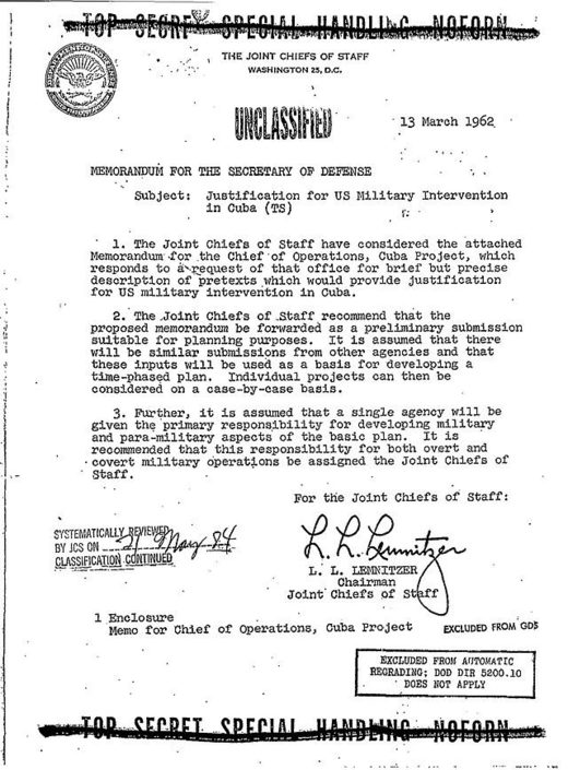 declassified classified US military intervention Cuba Bay of Pigs