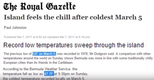 Record cold in Bermuda, blizzards in China & increased ice growth across Greenland