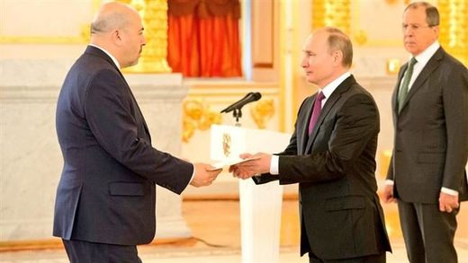 Israeli Ambassador to Moscow Gary Koren (L) presents his credentials to Russian President Vladimir Putin at the Kremlin on March 16, 2017.