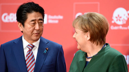 German Chancellor Angela Merkel and Japanese Prime Minister Shinzo Abe