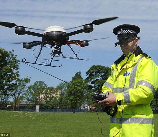 Policeman with drone