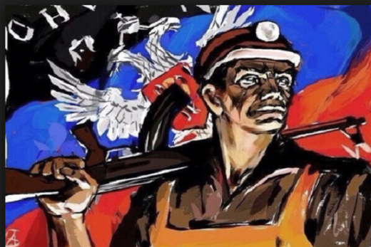 Armed Donetsk miner illustration